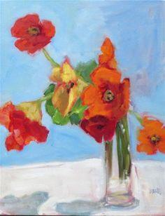 """""""Garden Nasturtiums"""" - Original Fine Art for Sale - © Mary Valente"""