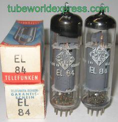 (!!) (#2 EL84 PAIR) EL84 Telefunken Germany <> bottom NOS 1950's