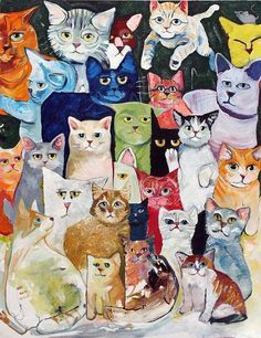 Menagerie of cats. | Unknown Artist | cat art print
