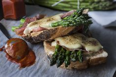 Croque Monsieur, which is basically a French ham and cheese toasted sandwich. This version adds fresh Australian asparagus and uses aged vintage cheddar, along with a touch of harissa sauce. www.australianflavours.com.au #recipes #foodphotography #myphotographer