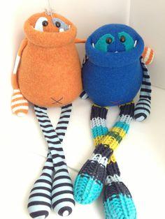 Custom Smug Monster plush toy upcycled from by BirdIsTheWordDesign