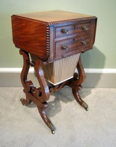 A fine Regency period faded mahogany Pembroke work table, on lyre end supports swept legs and original brass castors, the reverse with dummy drawers. Regency Furniture, Georgian Furniture, Old Furniture, Console, Living Room Decor Furniture, Sewing Tables, Rocking Horses, Antique Cabinets, Sewing Box