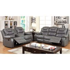 Extreme comfort can be deceiving to the eye. This multi-functional two-piece sofa set provides ample seat space while offering easy convenience with its double set of cup holders.