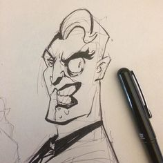 Half week Twoface! Half way through it. Thought I would try out some of this ink stuff I see lots of people doing cool stuff with it! #sketch #dccomics #batman #animation #DraworDie #lawvalamp #brianlawver #Twoface by lawvalamp