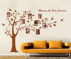 Big Wall Sticker 2 Sheet 90*60cm Photo Frame Leaf Kid Art Mural Tree Wall Sticker Flower Home Decor
