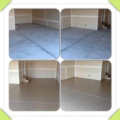 1 day polyurea garge floor coatings before and after. Done in 6 hours. Walk on only 4 hours after we finished! Garage Floor Coatings, 4 Hours, Flooring, Country, Furniture, Home Decor, Decoration Home, Rural Area, Room Decor