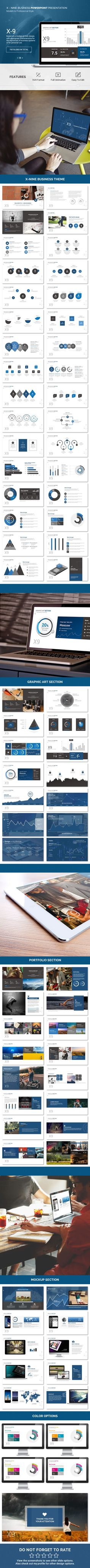 X nine Business PowerPoint Template #slides #design Download: http://graphicriver.net/item/x-nine-business-/13303752?ref=ksioks