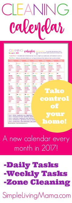 bae407635f6 Monthly Cleaning Calendar - Organize Housekeeping Routines