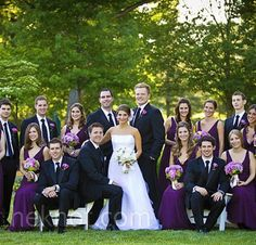 Pretty Bridal Party - Eggplant dresses and black suits