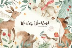 Ad: Winter Woodland by Flora & Bear on This Winter Woodland Watercolor Clipart Set includes 25 items of hand painted watercolor elements ( all png, 300 dpi, transparent The Animals, Woodland Christmas, Christmas Clipart, Watercolor Texture, Photoshop Design, Woodland Animals, Nursery Art, Graphic Illustration, Woodland Illustration