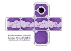This is a papercraft of the cloud box that Hibari uses in Katekyo Hitman REBORN! Feel free to use if you want to, but please do not redistrubute this w. Reborn Katekyo Hitman, Hitman Reborn, Pretty Cure, Diy Box, Paper Crafts, Clouds, Deviantart, Jumping Jacks, Cufflinks