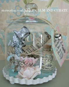 EXQUISITE ALICE IN WONDERLAND MINI BELL JAR CLOCHE-MAD HATTERS TEA PARTY DECORATION with CHARMS