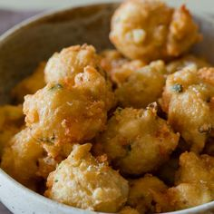 Shrimp Fritters Recipe Appetizers with shrimp, green onions, garlic cloves, water, all-purpose flour, unsalted butter, salt, black pepper, eggs, honey, vegetable oil