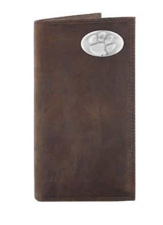 NCAA Clemson Tigers Light Brown Crazyhorse Leather Roper Concho Wallet, One Size by ZEP-PRO. $37.99. Carry your Clemson Tigers school and team spirit with you at all times. This light brown genuine crazyhorse soft leather secretary-style roper wallet is decorated with a silver gun metal concho and features bill and checkbook compartments, an ID window, six card slots, photo sleeve insert and spare key holder. Attractively boxed to make the perfect gift for the ultimate Clems...