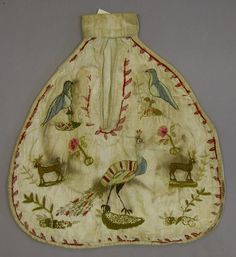 Pocket, single, embroidered, Nat'l Museums of Scotland, early-mid 18th c.