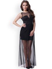 N-Gal Black Sheer Panelled Maxi Dress