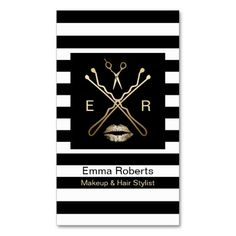 Makeup & Hair Stylist Modern Black & White Stripes Double-Sided Standard Business Cards (Pack Of 100)