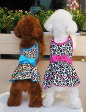 Бренд хлопок собака одежда синий красный сексуальный леопардовый собака домашнее животное платье щенок юбка для маленькие собаки тедди чихуахуа(China (Mainland))