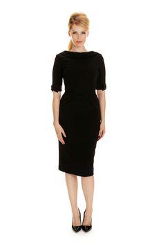 ccdb3aaf904602 Hollywood Black ¾ Sleeve Pencil Dress The Pretty Dress Company