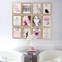 Fashion sketches framed in gold. Great focus for a girly, boutique-looking white…