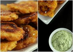 Tostones with Cilantro Garli Dipping Sauce   ■1 bunch fresh cilantro, stems removed and rinsed under cold water   ■2 cloves fresh garlic   ■3 tablespoons extra virgin olive oil   ■1 tablespoon lime juice   ■½ teaspoon kosher salt   ■1 cup plain Greek yogurt (or sour cream)