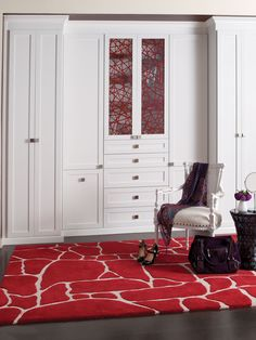 California Closets DFW Wardrobe With Red Ecoresin Panels