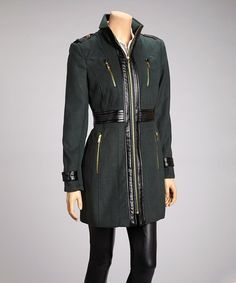 Take a look at this Forest & Black Faux Leather Long Jacket  - Women by Miss Sixty on #zulily today!