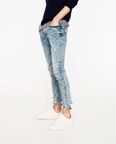 DENIM SKINNY RAW EDGE