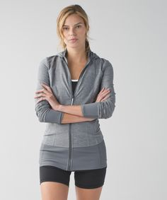 Lululemon Daily Practice Jacket in Heathered Slate - (If committing to a daily practice means we get to wear this jacket every day, then count us in. We pull on this soft mid-layer to stay cozy during warm-ups, cool-downs and chill-outs. The hood hides post-yoga hair and keeps our head in the game.)
