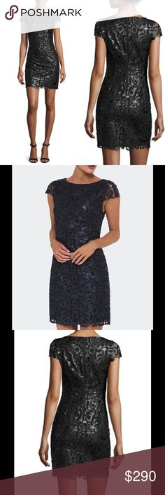 """Alice + Olivia Faux Leather Lace Mini Dress, Black Alice + Olivia """"Penni"""" dress in faux-leather (polyester/polyurethane) guipure lace. Boat neckline. Cap sleeves. Fitted silhouette. Hem hits mid-thigh. Back zip. Polyester/polyurethane. Lining, polyester/spandex. Dry clean. Imported. Alice + Olivia Dresses Mini"""