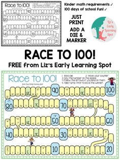 Race to 100 for 100 Days of School - Liz's Early Learning Spot