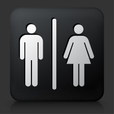 Black Square Button with Male and Female Bathroom Sign vector art illustration