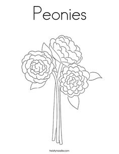 Peonies Coloring Page - Twisty Noodle Coloring Pages Nature, Spring Coloring Pages, Flower Coloring Pages, Coloring Pages For Kids, Kids Prints, Floral Illustrations, Cursive, Food Coloring, Noodle