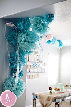 Mermaid theme 1st birthday party - pretty decorations!