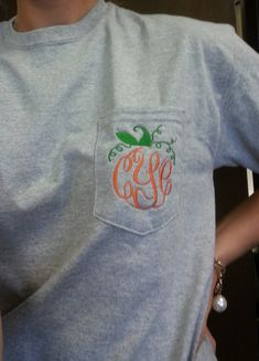 Long Sleeved MONOGRAMMED Fall Pumpkin Pocket Tee Shirt - Fall Thanksgiving…