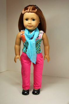 American Girl Doll Clothes-Skinny Jeans, Top and Scarf