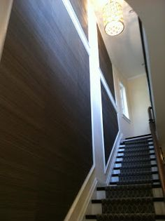 grasscloth wallpaper in a stairwell