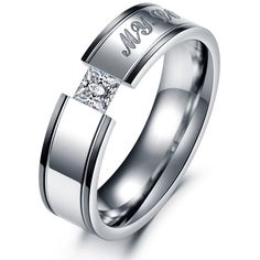 Korean ornament Diamond inlaid ring Zircon titanium steel couple rings -one for men only