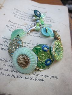 Green with Envy - Vintage Button Bracelet - designed by Vintage Vamp