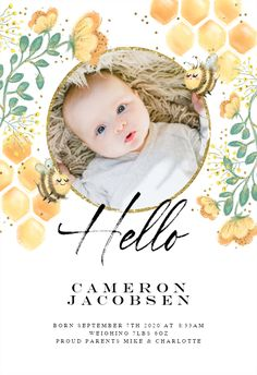 Hello Little Bee - Birth Announcement Card #announcements #printable #diy #template #birth #baby #birthannouncements Birth Announcement Template, Pregnancy Announcements, Announcement Cards, Second Trimester, Create Yourself, Bee, Printable, Invitations, Templates