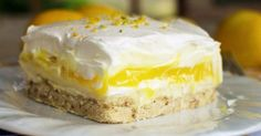 """Lemon Lush Dessert (Cupcake Diaries) [""""A cookie crust is layered with a creamy lemon pudding, sweet cream cheese, and a fluffy whipped topping. This dessert is perfect for spring and summer! Lemon Lush Dessert, Lemon Desserts, Great Desserts, Lemon Recipes, Brownie Desserts, Sweet Recipes, Delicious Desserts, Yummy Food, Dessert Healthy"""