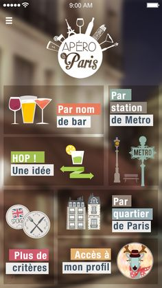 Apero à Paris Visit my Behance : https://www.behance.net/gallery/22248249/Apro-a-Paris #ux #uxdesign #ios8 #illustration #bar #pub #paris #dessin #apero #happyhour #2015