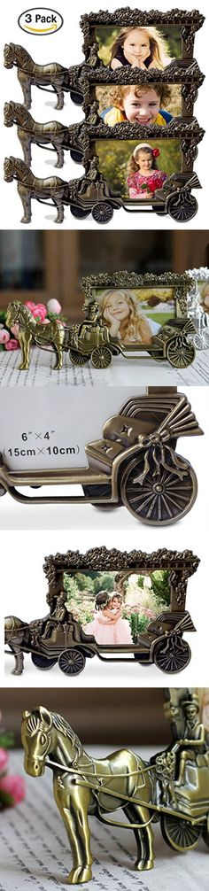 "Olivery Horse Carriage Photo Frame - 4"" X 6"" Picture Frames - Cute Tin Alloy & Glass Home Decor - 3 Packs - Great Baby Gift, Wedding Gift & More"