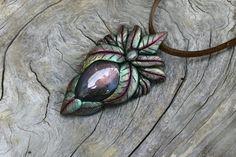 Labradorite gemstones clay pendants Aztec jewelry necklace faceted diamond Quartz bohemian spirit elven fairy tales magic mystic psytrance