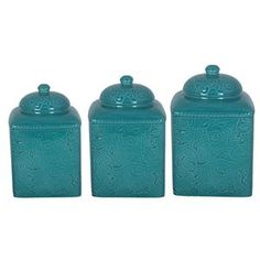 HiEnd Accents Savannah Turquoise Western Canister Set add matching stands for your Southwestern / Western Kitchen Decor.   #DelectablyYours Western Decor