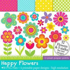 Happy Flowers - Set de Clip Art y Papeles Digitales