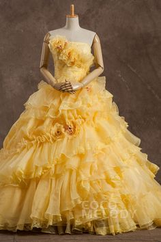 愛らしい Aライン ビスチェ ナチュラル コートトレーン オーガンジー Yellow スリーブレース シャールング編み上げ式 ウエディングドレス フラワー Pclbvj0179 Wedding Dresses With Flowers, Flower Dresses, Elegant Dresses, Pretty Dresses, Formal Dresses, Strapless Organza, Vintage Outfits, Vintage Clothing, Yellow Dress