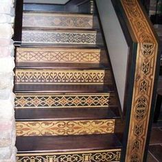 Faux Wood Inlay Stair Risers Table Idea Painted Stair