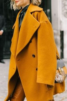 Love this golden yellow coat with a bow-tie top! You're going to need a colored coat this Fall too.. Interested in punching up your simple separates with a head-turning hue? Click to see our top picks!