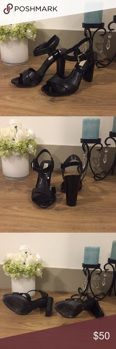 Black leather Ralph Lauren chunky heel sandal Only worn once! Brand new style! Black leather sandal heels with ankle strap and chunky heel. These are the perfect height, are comfortable and go with everything! Lauren Ralph Lauren Shoes Heels